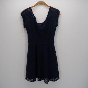 As U Wish Navy Blue Short Sleeve Lace Dress Small